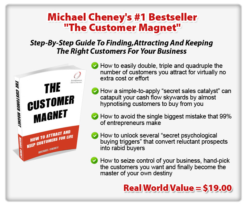 "Michael Cheney's #1 Bestseller ""The Customer Magnet"" ConYeco"