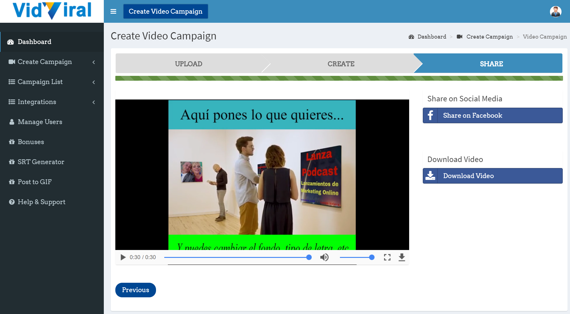 VidViral-Review-Bonuses-conyeco.com-LanzaPodcast-LucasValera-13-Dashboard-VidViral